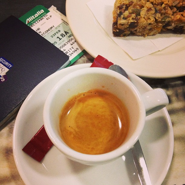 Post-security check #espresso. Yawn. It's been a great week! London  Milan. February 22, 2013 at 0931AM