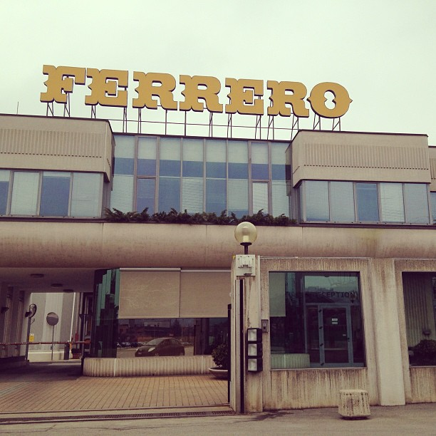 At the Ferrero factory (makers of #Nutella, #PocketCoffee, #Kinder) in Alba. Too bad no visits! March 29, 2013 at 0103PM