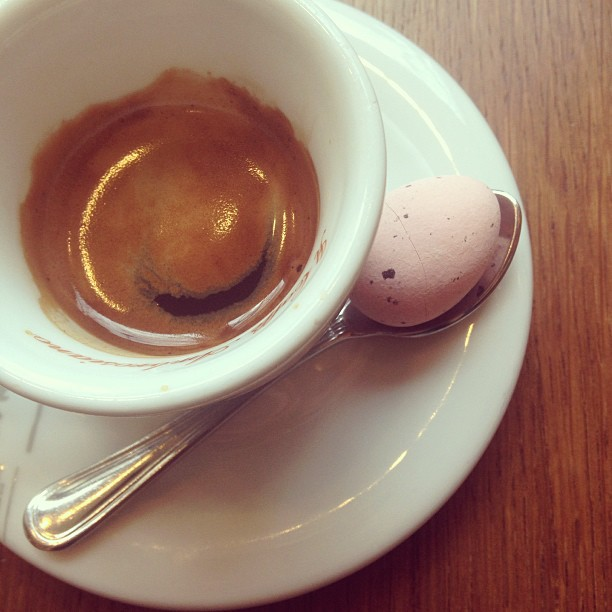 #Espresso with a side of chocolate egg. #easter #italy #coffee March 26, 2013 at 0350PM