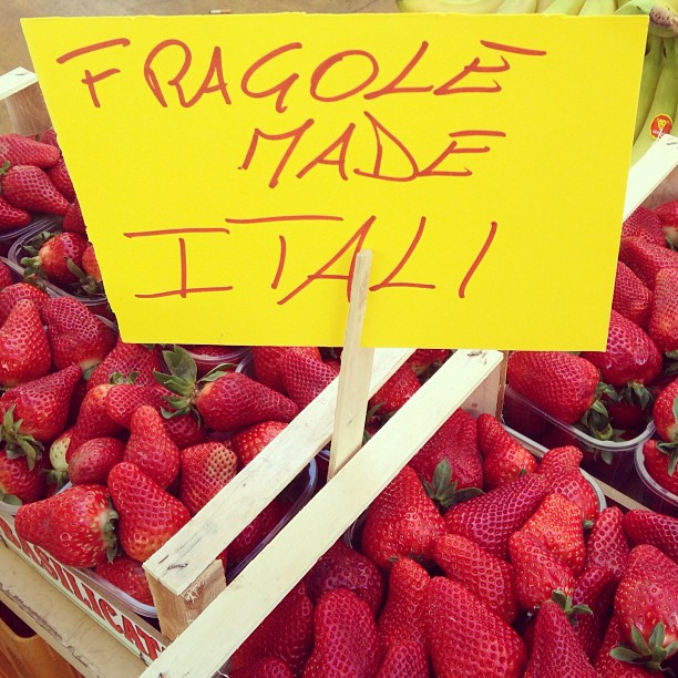 Handwritten market sign Fragole Made Itali ) #italy March 13, 2013 at 1235PM