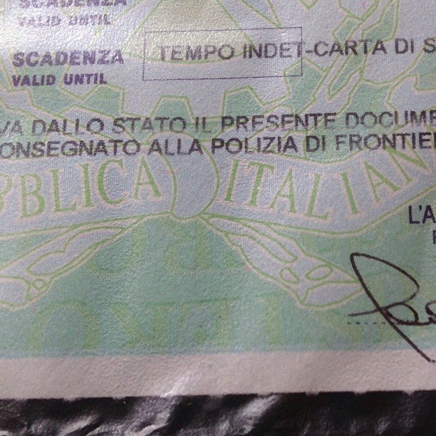 Today the Italian government & I both won stay permit a tempo indeterminato! #italy April 15, 2013 at 1227PM
