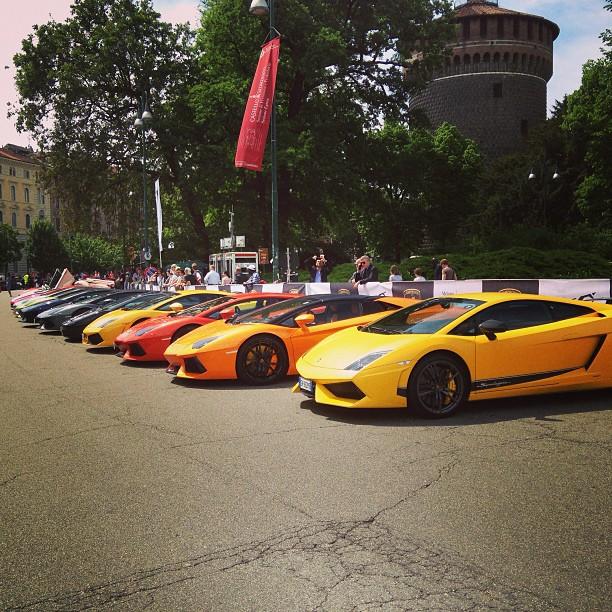 Choosing my model. More than two hundred here at #Lamborghini 50th anniversary #Milan #italy May 07, 2013 at 0232PM
