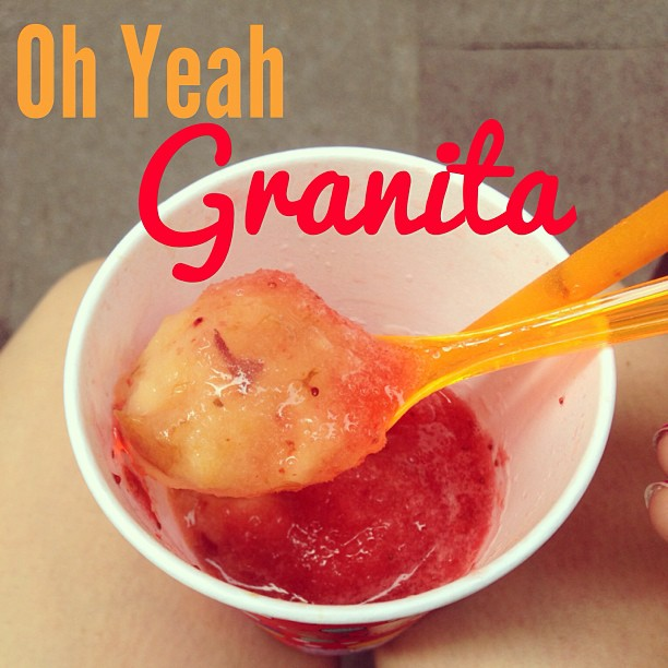 Real peaches. Real strawberries. Oh yeah #granita! #Milan #Italy June 15, 2013 at 0328PM