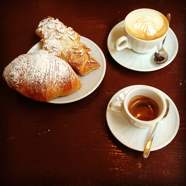 Sunday morning sustenance. #espresso #cappuccino #kipfel #brioche #Italy June 30, 2013 at 1058AM